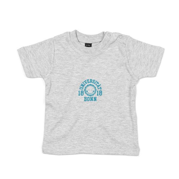 Baby T-Shirt, heather grey, smile blue