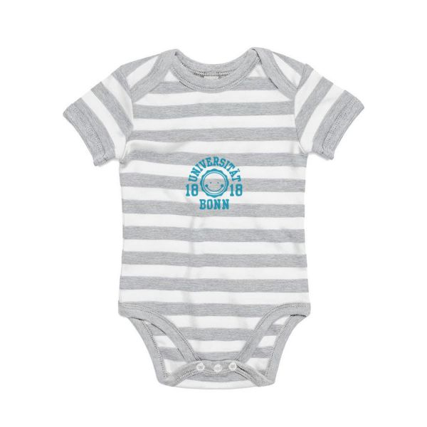 Baby Bodysuit, grey/white, smile blue