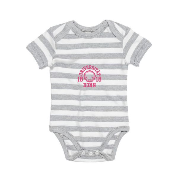 Baby Bodysuit, grey/white, smile pink