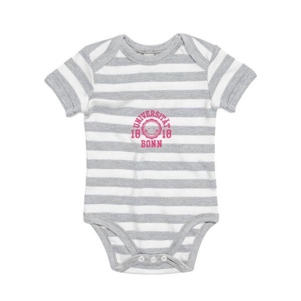 Baby Bodysuit, grey/white, smile pink