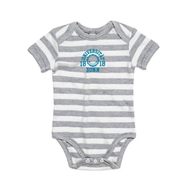 Baby Bodysuit, grey/white, smile blue