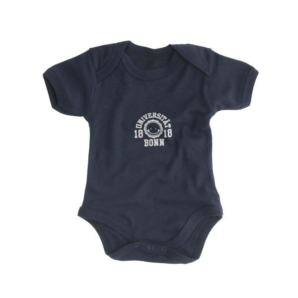 Baby Bodysuit, navy, smile